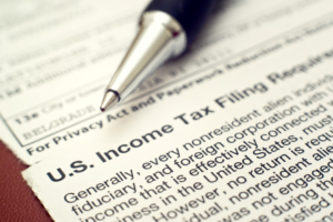 Closeup of US Tax form.